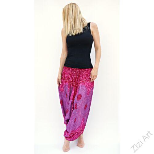 női, divat, nadrág, pink, rózsaszín, lila, mandala, világos, bordűr, trend, kényelmes, bő, szellős, viszkóz, egyedi, extravagáns, különleges, bohém, Thaiföld