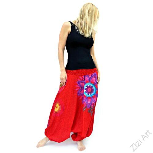 piros, színes, élénk, virág, mandala, tűzvirág, bő, pamut, aladdin, női, nadrág, Nepál, kényelmes, szellős, bohém, egyedi, extravagáns, tavasz, nyár, divat, trend