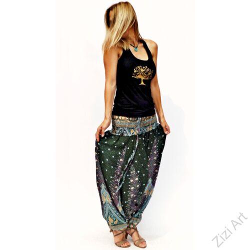 női, divat, nadrág, pávatoll, zöld, fekete barna, fehér, trend, kényelmes, bő, szellős, viszkóz, egyedi, extravagáns, különleges, bohém, Thaiföld