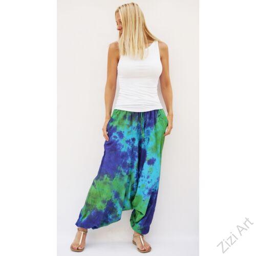 aladdin, nadrág, női, bő szárú, batikolt, mintás, kényelmes, kék, sárga, zöld, barna, piros, sárga, pink, lila, bordó, pamut, géz, laza, bohém, extravagáns, egyedi, női, divat, trend, Nepál