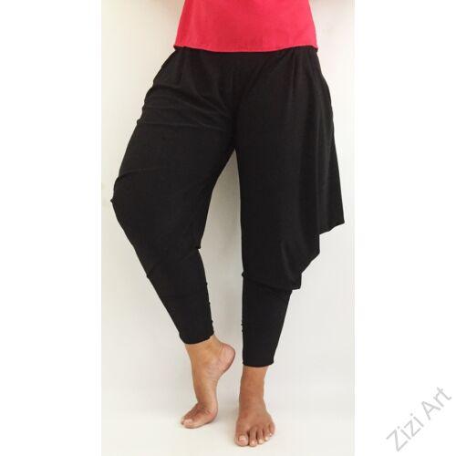 női, divat, fekete, zsebes, bő, denevér, nadrág, egyszínű, trend, kényelmes, szellős, egyedi, extravagáns, különleges, bohém, olasz