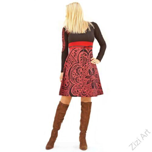 fekete, piros, bordó, mályva, virág, etno, mintás, hosszú ujjú, A-vonalú, pamut, designer, ruha, Nepál, egyedi, vidám, elegáns, különleges, női, divat, bohém, trend