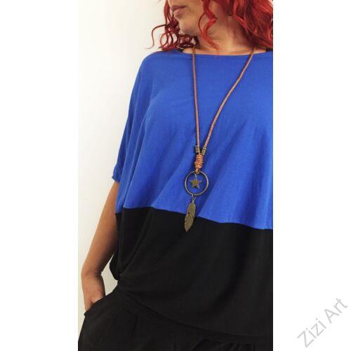 kék, fekete, denevér ujjú, felső, nyaklánccal, designer, olasz, bő, lezser, egyedi, vidám, elegáns, különleges, női, divat, bohém, trend