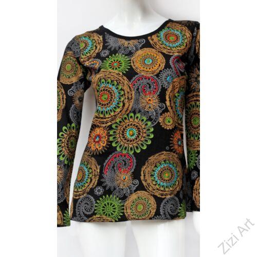 felső, póló, hosszú ujjú, vastag, meleg, pamut, barna, fekete, narancs, mandala, virág, mintás, vidám, bohém, hippi, laza, női, divat, trend