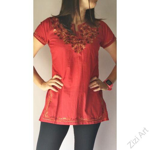 piros, barna, drapp, hímzett, különleges v nyakú, rövid ujjú, tunika, pamut, kényelmes, nyári,