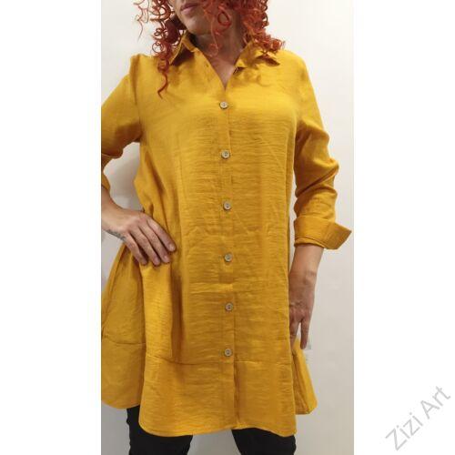 hosszú ujjú. mustár, sárga, galléros, blúz, felső, viszkóz, pamut, színes, alkalmi, elegáns, női, divat, trend