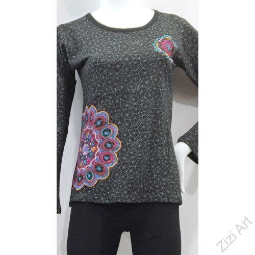 hosszú ujjú, pamut, felső, póló, színes, kék, fekete, mandala, mintás, vidám, bohém, hippi, laza, női, divat, trend