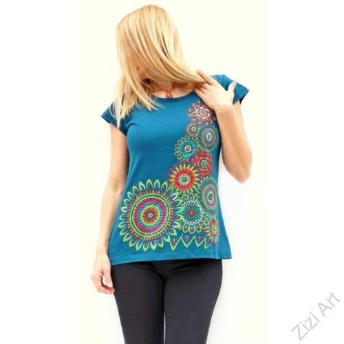 rövid ujjú, pamut, felső, póló, színes, kék, mandala, virág, mintás, vidám, bohém, hippi, laza, női, divat, trend