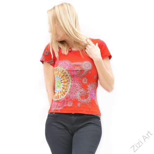 rövid ujjú, pamut, felső, póló, színes, fehér, piros, fekete, türkiz, kék, zöld, csipke, mandala, virág, mintás, vidám, bohém, hippi, laza, női, divat, trend