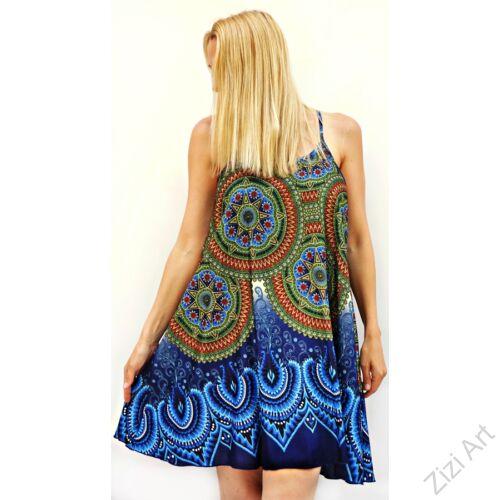 mini, ruha, szines, kék, zöld, piros, mandalás, spagettipántos, vidám, bohém, hippi, laza, női, divat, trend