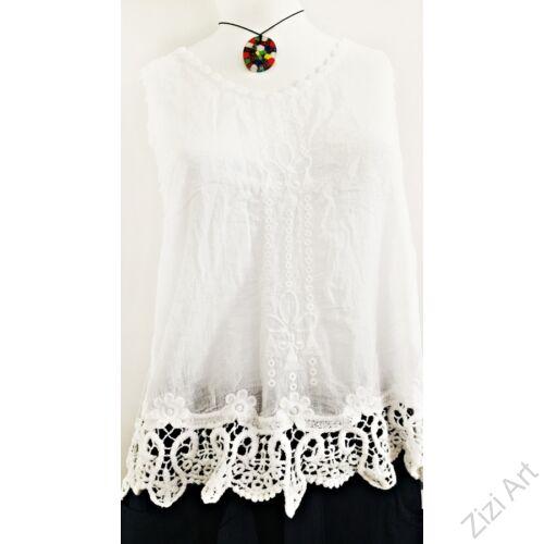 fehér, horgolt, hímzett, pamut, ujjatlan, felső, női, divat, trend, nyári, elegáns, etno, mintás, egyedi