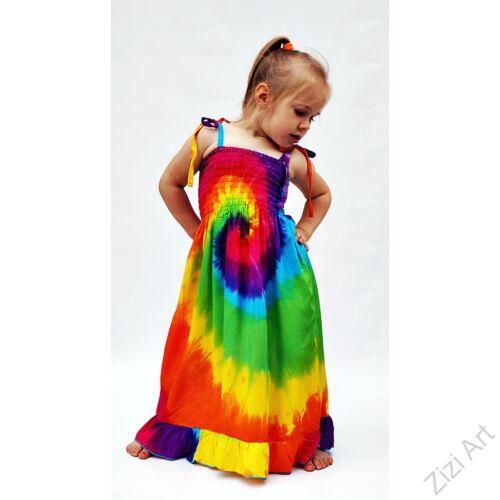 szivárvány, mintás, színes, gyerek, hosszú, fodros, megkötős, ruha, szellős, kényelmes, viszkóz, Thaiföld, trend, divat