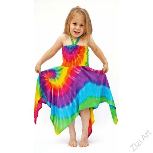 szivárvány, mintás, színes, cikk-cakk aljú, gyerek, hosszú, ruha, szellős, kényelmes, viszkóz, Thaiföld, trend, divat