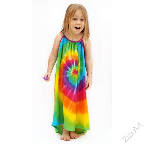 szivárvány, mintás, színes, gyerek, hosszú, ruha, szellős, kényelmes, viszkóz, Thaiföld, trend, divat