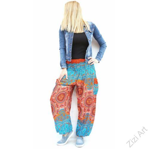 női, divat, kék, narancs, bő, viszkóz, nadrág, levél, pávatoll, élénk, színes, trend, kényelmes, szellős, egyedi, extravagáns, különleges, bohém, jázmin, Thaiföld