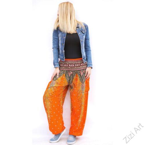 női, divat, narancs, barna, bő, viszkóz, nadrág, levél, pávatoll, élénk, színes, trend, kényelmes, szellős, egyedi, extravagáns, különleges, bohém, jázmin, Thaiföld