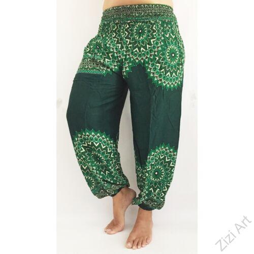 női, divat, zöld, fehér, mandala,  bordűrminta, mintás, bő, viszkóz, nadrág, színes, trend, kényelmes, szellős, egyedi, extravagáns, különleges, bohém, jázmin, Thaiföld, nagy méret, extra méretezés, plus size