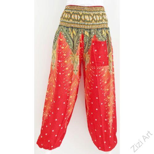 női, divat, piros, fekete, sárga, bő, viszkóz, nadrág, levél, pávatoll, élénk, színes, trend, kényelmes, szellős, egyedi, extravagáns, különleges, bohém, jázmin, Thaiföld