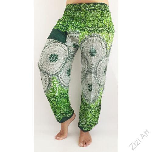 női, divat, zöld, fehér, mandala,, mintás, bő, viszkóz, nadrág, színes, trend, kényelmes, szellős, egyedi, extravagáns, különleges, bohém, jázmin, Thaiföld, nagy méret, extra méretezés, plus size