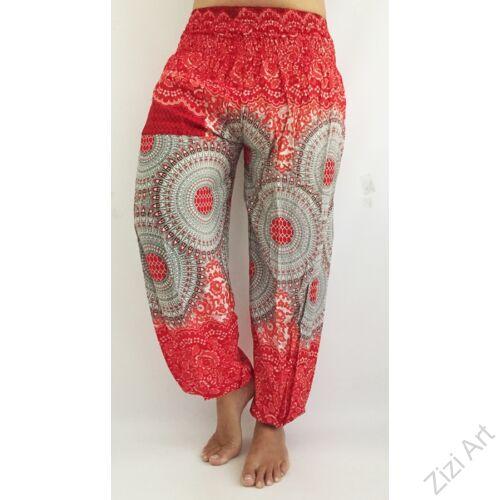 női, divat, piros, fehér, szürke, zsebes, mandala, mintás, bő, viszkóz, nadrág, színes, trend, kényelmes, szellős, egyedi, extravagáns, különleges, bohém, jázmin, Thaiföld, nagy méret, extra méretezés, plus size