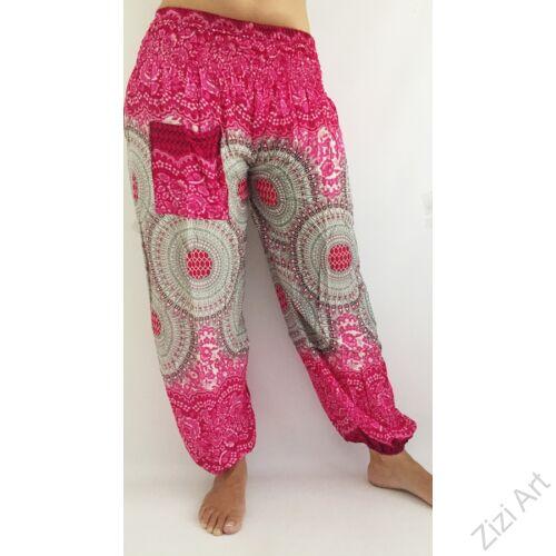 női, divat, pink, fehér, szürke, zsebes, mandala, mintás, bő, viszkóz, nadrág, színes, trend, kényelmes, szellős, egyedi, extravagáns, különleges, bohém, jázmin, Thaiföld, nagy méret, extra méretezés, plus size
