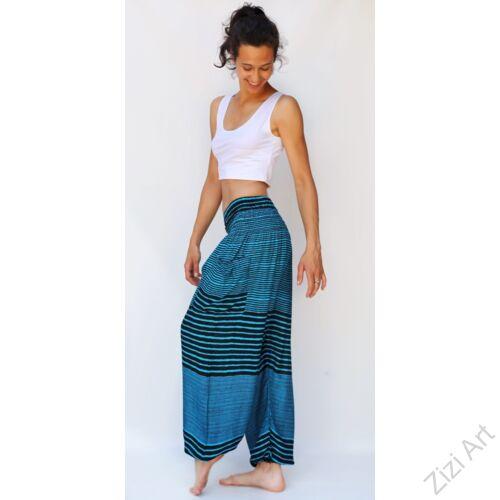 női, divat, kék, fekete, csíkos, bő, viszkóz, nadrág, színes, trend, kényelmes, szellős,  bohém, jázmin, Thaiföld, nagy méret, extra méretezés, plus size