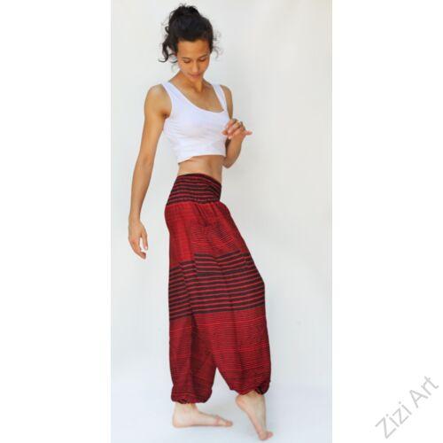 női, divat, piros, fekete, csíkos, bő, viszkóz, nadrág, színes, trend, kényelmes, szellős, egyedi, bohém, jázmin, Thaiföld, nagy méret, extra méretezés, plus size