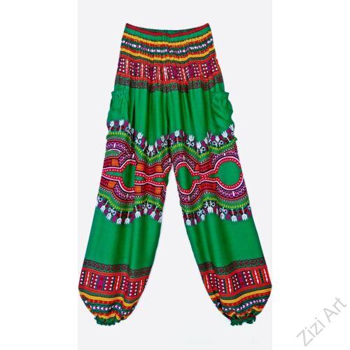 bő, viszkóz, nadrág, élénk, zöld, színes, kör, etno, mintás, színes, női, divat, trend, kényelmes, szellős,  bohém, jázmin, Thaiföld, nagy méret, extra méretezés, plus size