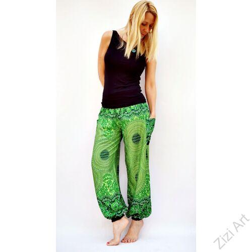 női, divat, nadrág, virág, mandala, élénk, színes, zöld, bordó, trend, kényelmes, bő, szellős, viszkóz, egyedi, extravagáns, különleges, bohém, jázmin, Thaiföld