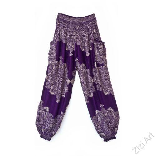 bő, nadrág, jázmin, mandala, mintás, viszkóz, lila, bézs, trend, kényelmes, szellős, egyedi, extravagáns, bohém, Thaiföld, nagy méret, extra méretezés, plus size