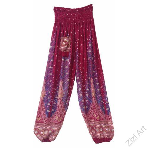 női, divat, azúr, bordó, pink, bő, viszkóz, nadrág, levél, pávatoll, élénk, színes, trend, kényelmes, szellős, egyedi, extravagáns, különleges, bohém, jázmin, Thaiföld