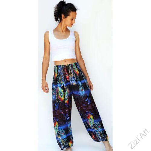 jázmin, nadrág, kék, fekete, pávatoll, mintás, bő, viszkóz, nadrág, színes, trend, kényelmes, szellős, egyedi, extravagáns, különleges, bohém, Thaiföld, trend, női, divat