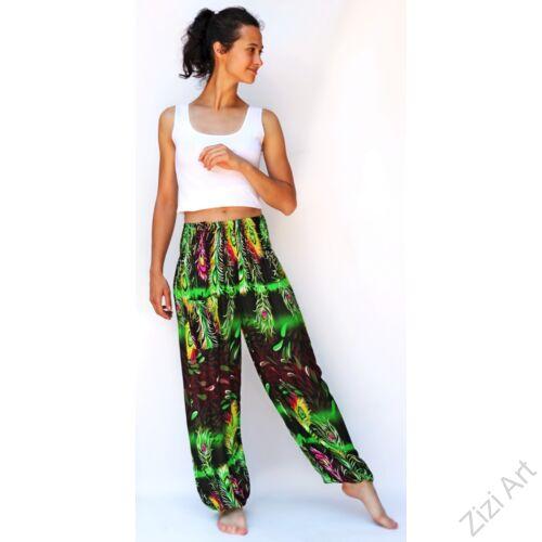 jázmin, nadrág, kiwi, zöld, fekete, pávatoll, mintás, bő, viszkóz, nadrág, színes, trend, kényelmes, szellős, egyedi, extravagáns, különleges, bohém, Thaiföld, trend, női, divat