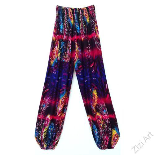 jázmin, nadrág, pink, kék, fekete, pávatoll, mintás, bő, viszkóz, nadrág, színes, trend, kényelmes, szellős, egyedi, extravagáns, különleges, bohém, Thaiföld, trend, női, divat