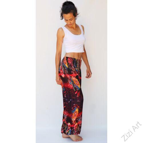 jázmin, nadrág, piros, bordó, fekete, pávatoll, mintás, bő, viszkóz, nadrág, színes, trend, kényelmes, szellős, egyedi, extravagáns, különleges, bohém, Thaiföld, trend, női, divat
