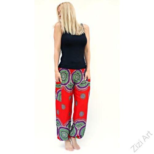 női, divat, nadrág, kör, mandala, élénk, színes, világos, piros, lila, zöld, trend, kényelmes, bő, szellős, viszkóz, egyedi, extravagáns, különleges, bohém, jázmin, Thaiföld