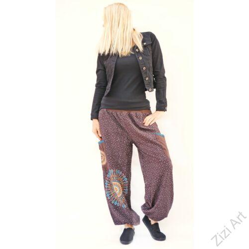 jázmin, nadrág, barna, kék, színes, bő, pamut, pókháló, mintás, zsebes, színes, női, divat, trend, kényelmes, egyedi, extravagáns, különleges, bohém, jázmin, Nepál