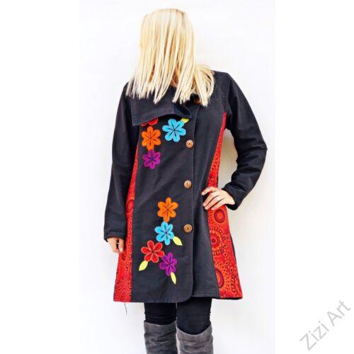 fekete, színes, virágos, meleg, rövid, hosszított, közép rövid, hímzett, virágindás, galléros, gombos, pamut, kabát, polár, bélelt, tél, ősz, elegáns, egyedi, cipzár, Nepál, kapucni, rátét, egzotikus, bohém