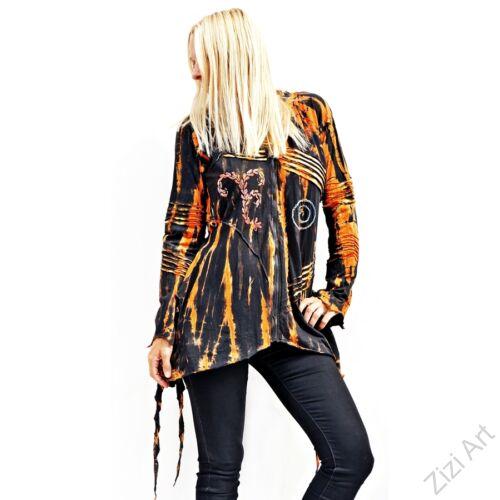 batikolt, színes, mintás, fekete, narancs, sárga, hosszú, béleletlen, vékony, cikk-cakk, kardigán, pulóver, pulcsi, Nepál, egzotikus, manó, kapucni, cipzár, ősz, tél, egyedi, bohém, vidám