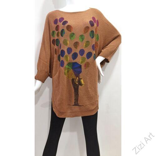 világos, barna, színes, kötött, pulóver, hosszú, esernyő, mintás, pulcsi, háromnegyedes, ujjú, kerek, nyakú