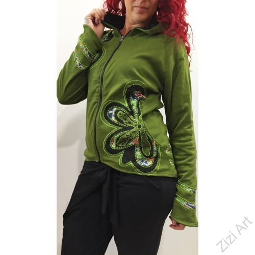 fekete, kék, zöld, oliva, rövid, zsebes, kardigán, pulóver, mandala, virág, színes, Nepál, egzotikus, meleg, polár, bélelt, thermo, manó, kapucni, cipzár, ősz, tél, egyedi, vidám