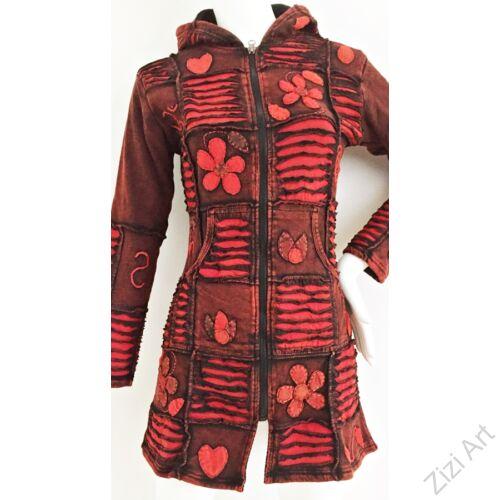piros, bordó, szürke, hosszú, kardigán, pulóver, virág, bimbó, szines, Nepál, egzotikus, meleg, polár, bélelt, thermo, manó, kapucni, cipzár, ősz, tél, egyedi, vidám