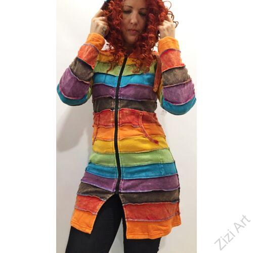 szivárvány, hosszú, kardigán, pulóver, pulcsi, csíkos, színes, Nepál, egzotikus, meleg, polár, bélelt, thermo, manó, kapucni, cipzár, ősz, tél, egyedi, vidám