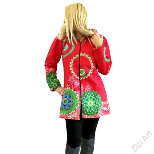 piros, zöld, kék, pink, azúr, lila, mandalás, mintás, színes, meleg, rövid, pamut, pamutszövet, kabát, polár, bélelt, tél, ősz, elegáns, egyedi, cipzár, Nepál, kapucni, egzotikus, különleges, unique, special. red, green, blue, pink, purple, azure, mandala
