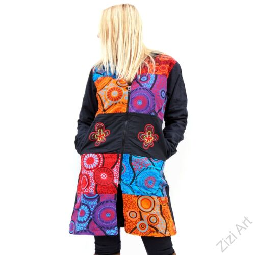 piros, kék, narancs, lila, mandalás, fekete, patchwork, mintás, betétes, színes, meleg, közép hosszú, hosszított, hímzett, pamut, pamutszövet, pamut, kabát, polár, bélelt, tél, ősz, elegáns, egyedi, cipzár, Nepál, kapucni, egzotikus, különleges
