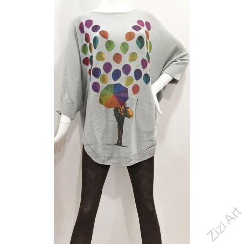 színes, szürke, kötött, pulóver, hosszú, esernyő, mintás, pulcsi, háromnegyedes, ujjú, kerek, nyakú