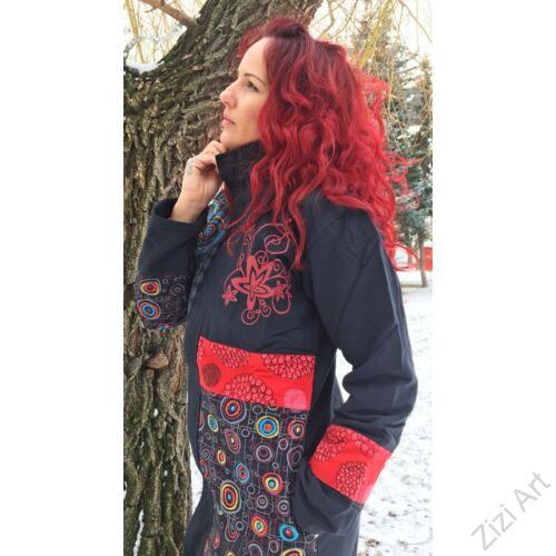 piros, fekete, kék, állónyakú, mandala, kör, pötty, virág, mintás, színes, meleg, közép hosszú, hosszított, kabát, polár, bélelt, tél, ősz, elegáns, egyedi, cipzár, Nepál, egzotikus, bohém