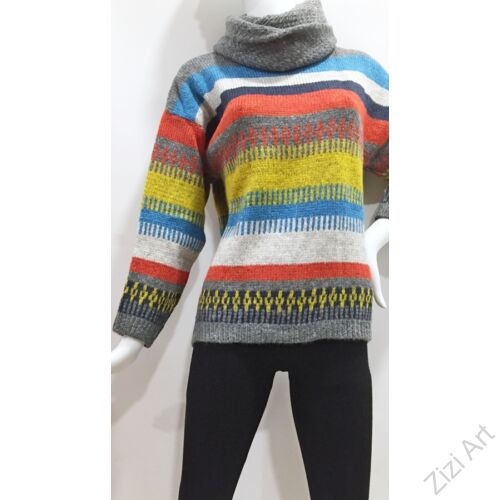 csíkos, színes, vastag, kötött, pulóver, sál, hosszú, ujjú, mintás, pulcsi, kerek, nyakú, narancs, sárga, kék, fehér, szürke, sötétkék, világoskék