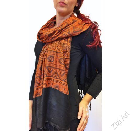 nagy, pashmina, gyapjú, selyem, sál, sálkendő, poncsó, színes, narancs, fekete, mintás, nepáli