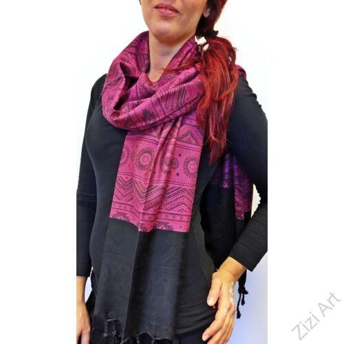 nagy, pashmina, gyapjú, selyem, sál, sálkendő, poncsó, színes, pink, fekete, mintás, nepáli